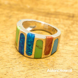 Sterling Silver Rainbow Mosaic Stone Inlay Ring