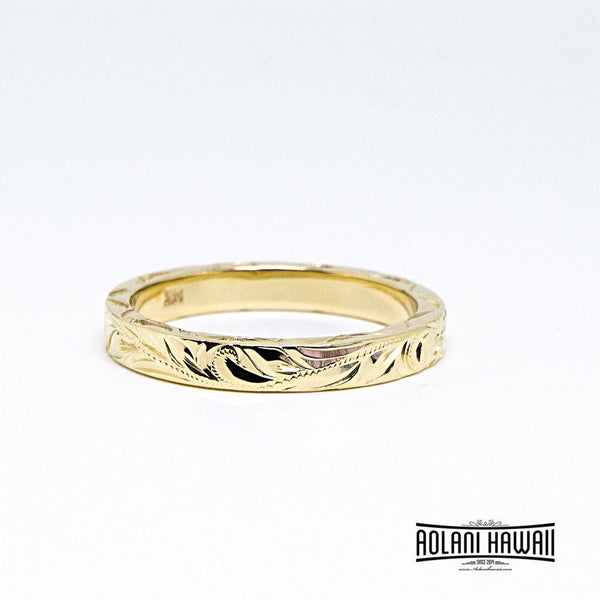 Traditional Hawaiian Hand Engraved 14K Gold Ring 3mm Width 2mm Thick Flat Style