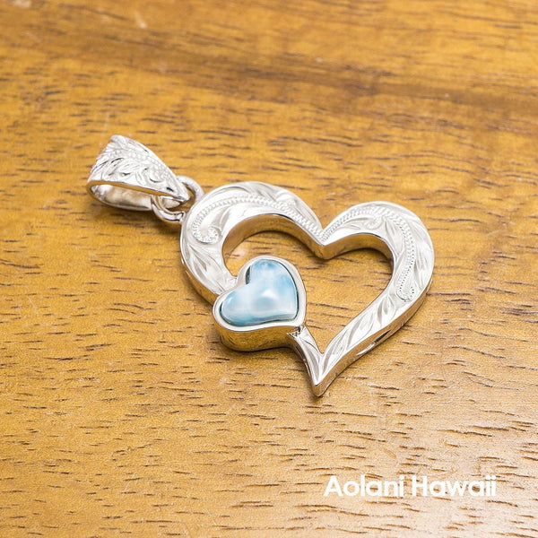 Sterling Silver Larimar Inlaid Heart Pendant
