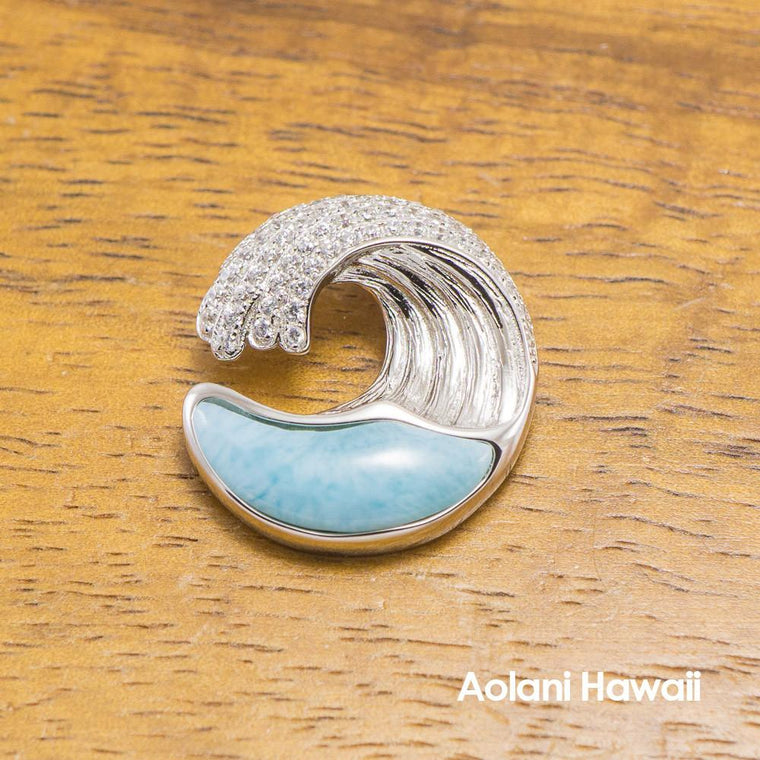 Larimar Inlaid Sterling Silver Wave Pendant with Cubic Zirconia Stones