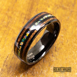 Fire Opal Black Tungsten Ring with Koa Wood Inlay