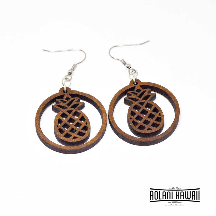 Pineapple Genuine Handmade Koa Wood Dangling Pierce