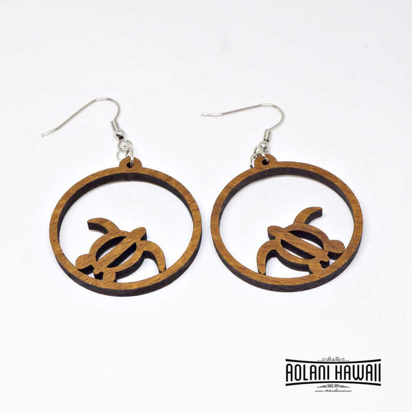 Honu Turtle Genuine Handmade Koa Wood Dangling Pierce