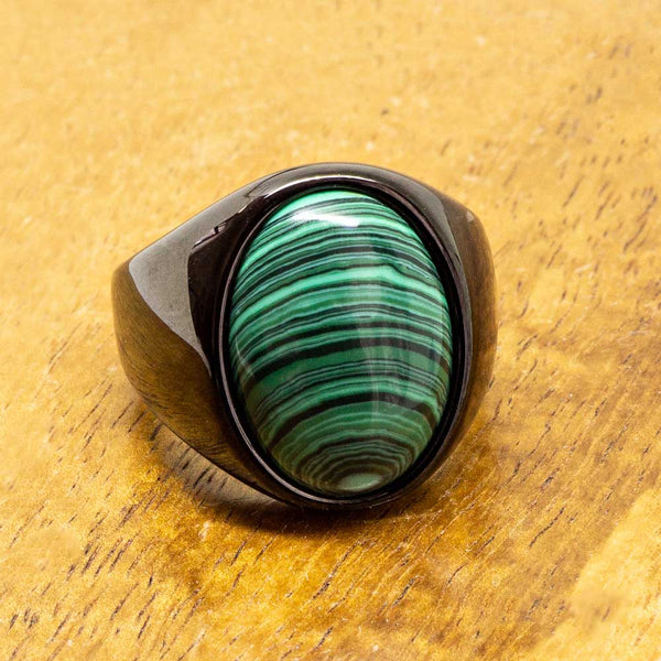 New - Black Tungsten Malachite Class Ring