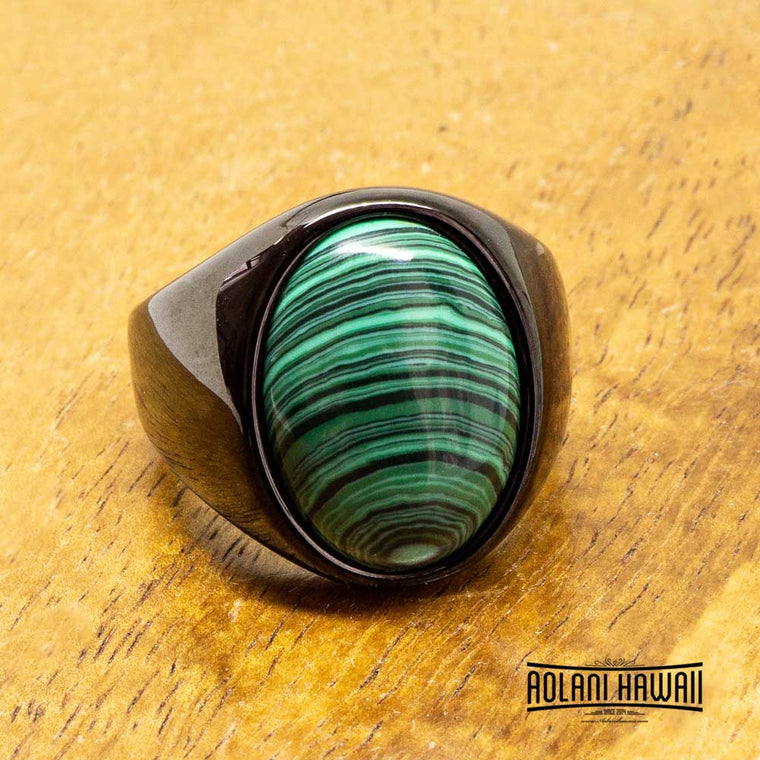 Black Tungsten Malachite Class Ring