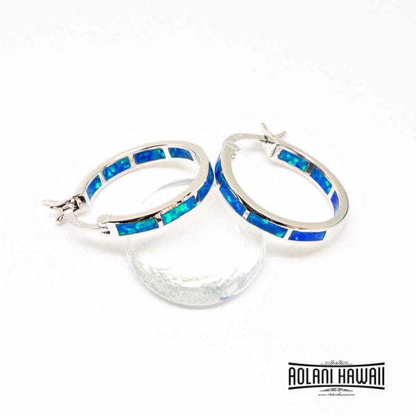 Dangling Sterling Silver Loop Earring Pierce with Opal Inlay