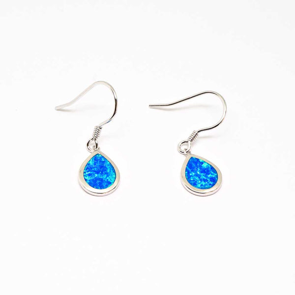 Dangling Sterling Silver Tear shape Earring Pierce with Opal Inlay