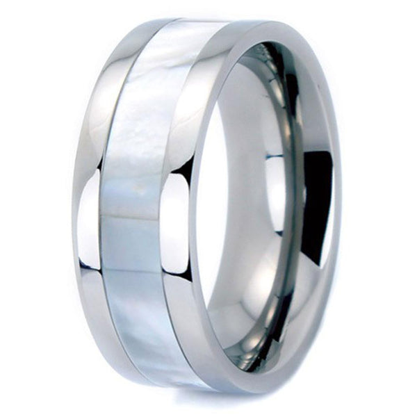 Pearl Inlaid Titanium Ring (8mm width, Flat Style)