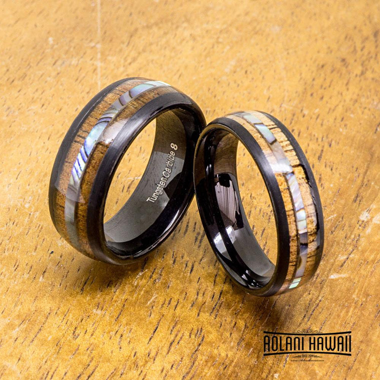 Black Tungsten Ring with Abalone with Koa Wood Inlay