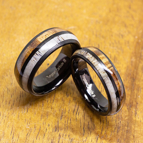 Black Antler Tungsten Ring with Koa Wood Inlay