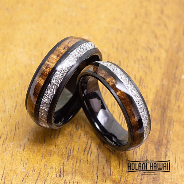 Meteorite Black Tungsten Ring with Koa Wood Inlay