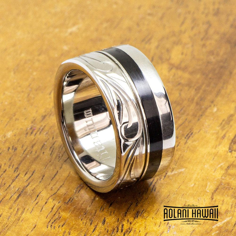 Black Ebony Wood Titanium Ring (10mm Flat Style)
