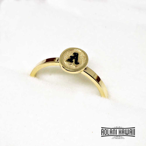 Initial Traditional Hawaiian Hand Engraved 14k Gold Ring (2mm width, Flat style)