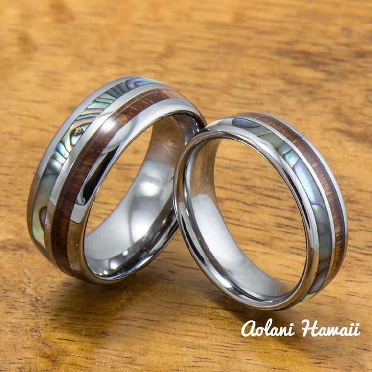 tungsten abalone wedding band set with mother of pearl abalone and koa wood inlay 6mm - Hawaiian Wedding Rings