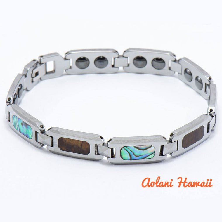 Abalone Koa Wood Bracelet handmade with Tungsten Carbide (10mm width, 8