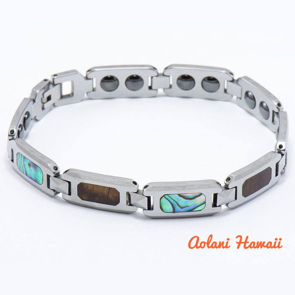 "Abalone Koa Wood Bracelet handmade with Tungsten Carbide (10mm width, 8"" inch in length) - Aolani Hawaii - 1"