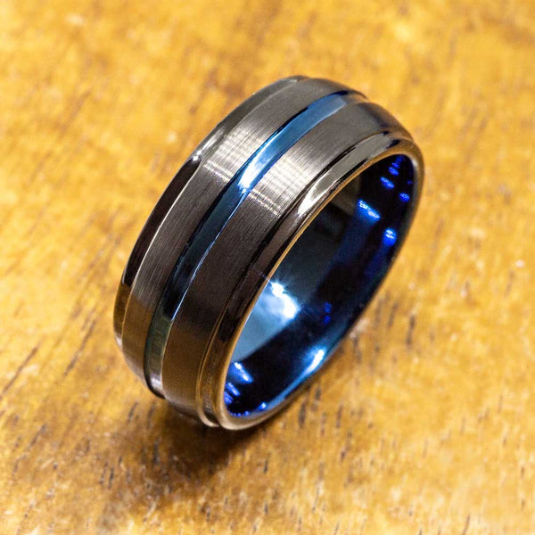 New - Dome Shape Black Tungsten Ring with Brushed Satin Surface( 8mm width)