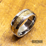 New - Gold Inlay Two Tone Tungsten Ring (8mm width)
