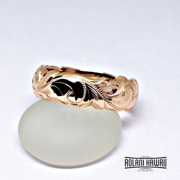Hawaiian Ring - Hand Engraved 14k Gold Barrel Ring (6mm width, Barrel style)