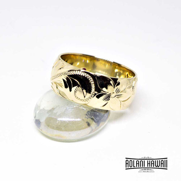 Handmade Hawaiian Ring 14k Gold Ring with Birth Stone