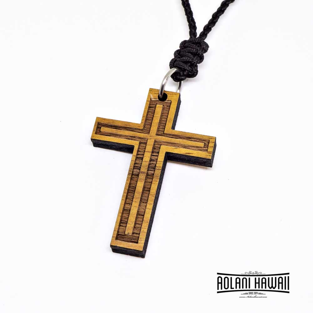 Genuine Koa Wood Cross Pendant Handmade