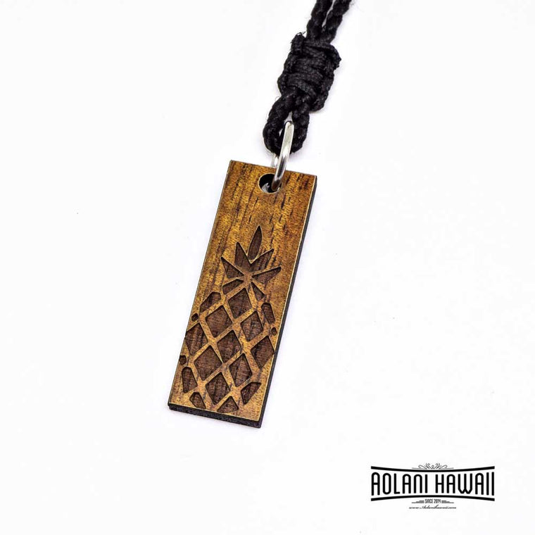 Pineapple Koa Wood Pendant Necklace