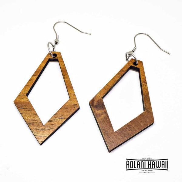 Koa Wood Diamond Shape Earring Pierce