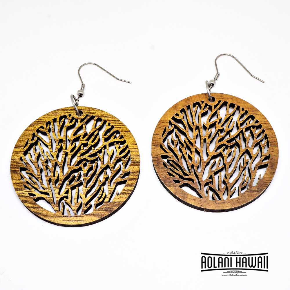 Genuine Handmade Koa Wood Tree Of Life Earring Pierce