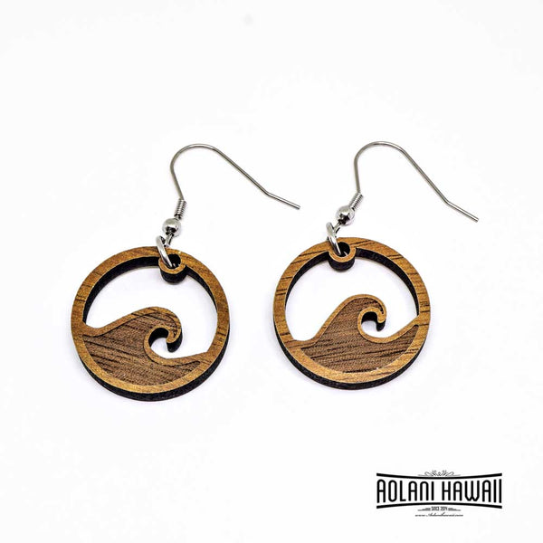 Handmade Koa Wood Ocean Wave Earring Pierce