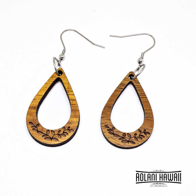 Hawaiian Koa Wood Teardrop Dangling Earring Pierce