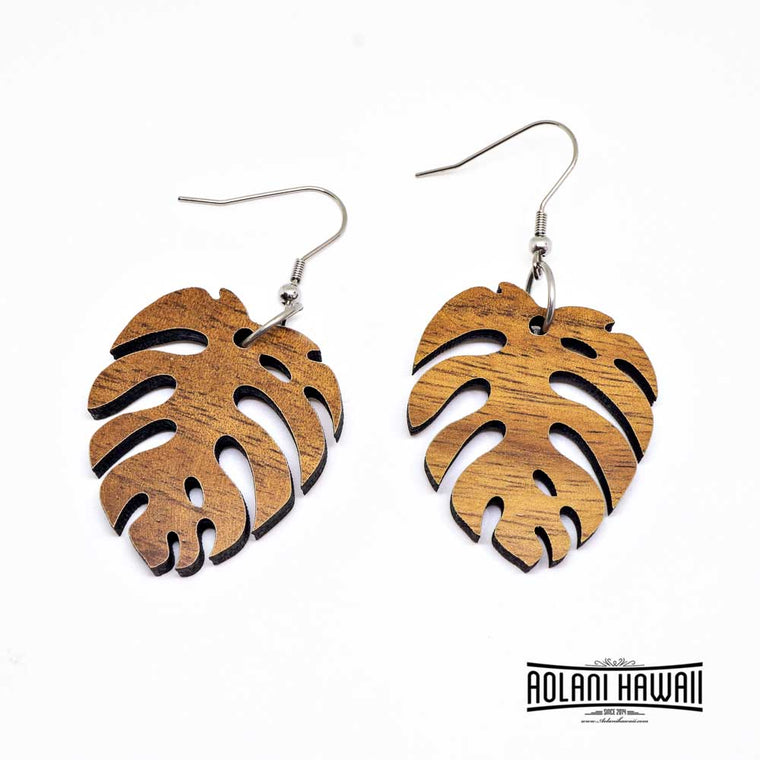 Handmade Koa Wood Monstera Leaf Earring Pierce