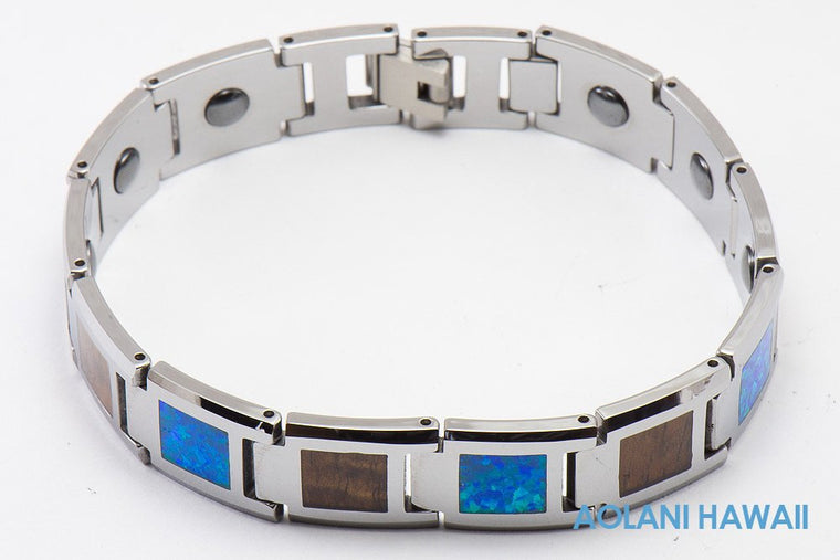 Opal Koa Wood Tungsten Carbide Bracelet (14mm width, 8