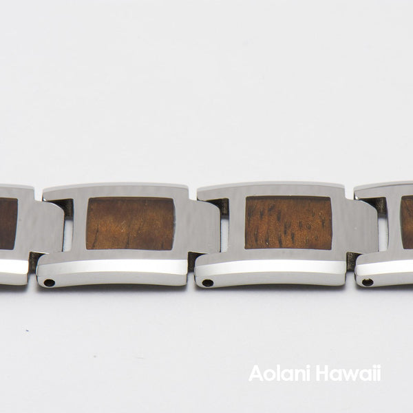 "Koa Wood Tungsten Carbide Bracelet (14mm width, 9"" inch in length) - Aolani Hawaii - 2"