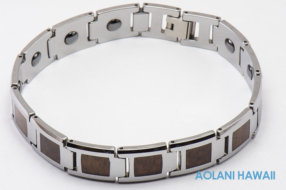 "Koa Wood Tungsten Carbide Bracelet (14mm width, 9"" inch in length) - Aolani Hawaii - 1"