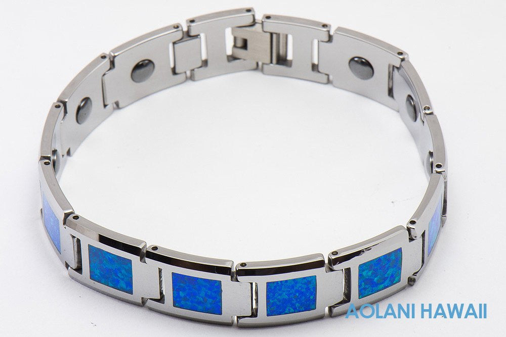 "Opal Tungsten Carbide Bracelet (14mm width, 8"" inch in length) - Aolani Hawaii - 1"