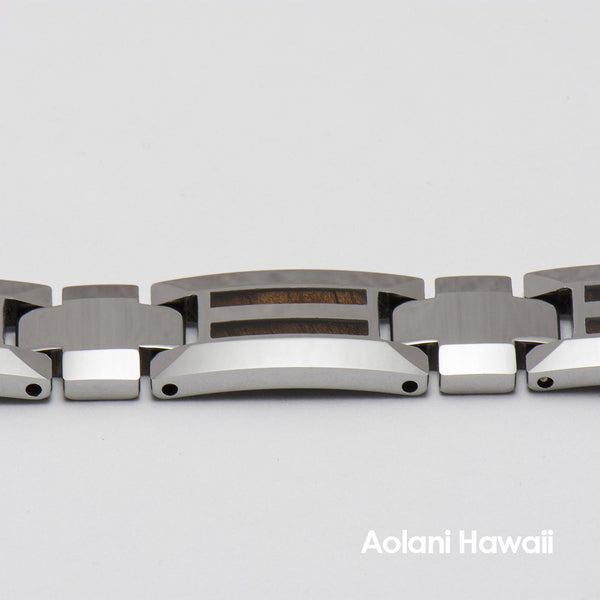 "Tungsten Carbide Koa Wood Bracelet (10mm width, 8"" inch in length) - Aolani Hawaii - 2"