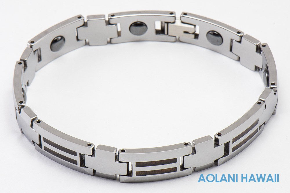 "Tungsten Carbide Koa Wood Bracelet (10mm width, 8"" inch in length) - Aolani Hawaii - 1"