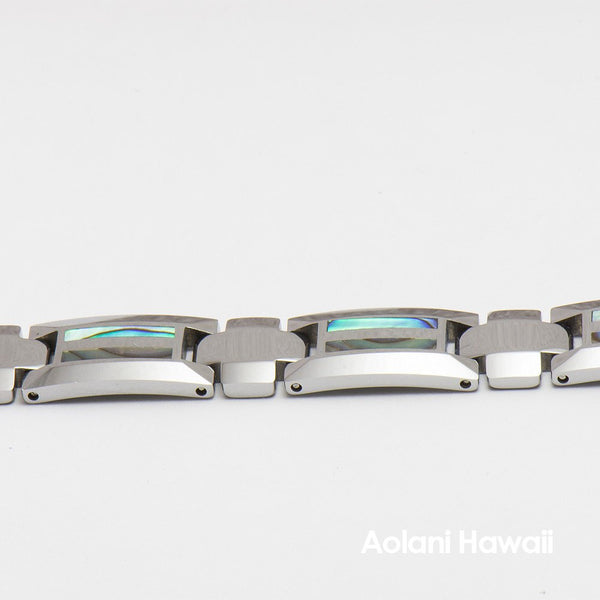 "Tungsten Carbide Abalone Bracelet (10mm width, 8"" inch in length) - Aolani Hawaii - 2"
