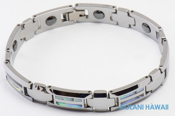 "Tungsten Carbide Abalone Bracelet (10mm width, 8"" inch in length) - Aolani Hawaii - 1"
