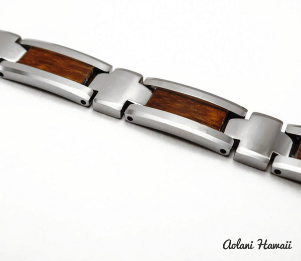 "Koa Wood Bracelet handmade with Tungsten Carbide (10mm width, 9"" inch in length) - Aolani Hawaii - 2"