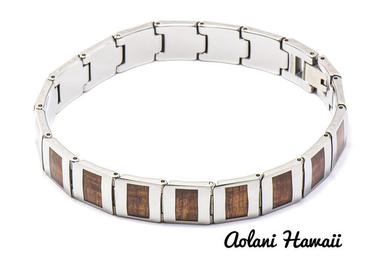 Koa Wood Bracelet handmade with Tungsten Carbide (12mm width, 8.5