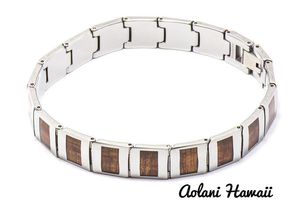 "Koa Wood Bracelet handmade with Tungsten Carbide (10mm width, 8.5"" inch in length) - Aolani Hawaii - 1"