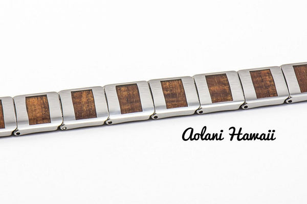"Koa Wood Bracelet handmade with Tungsten Carbide (10mm width, 8.5"" inch in length) - Aolani Hawaii - 2"