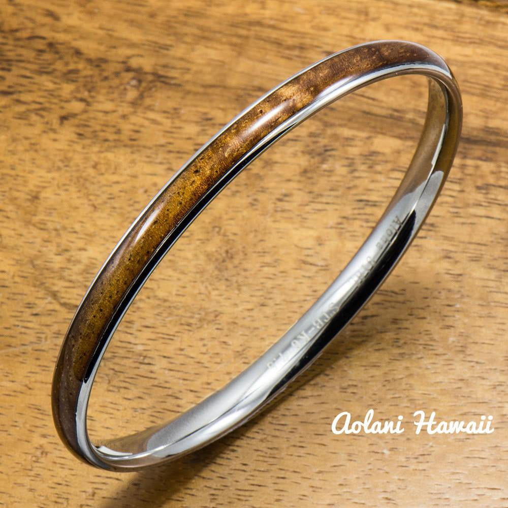 Stainless Steel Bracelet with Hawaiian Koa Wood Inlay (6mm width) - Aolani Hawaii