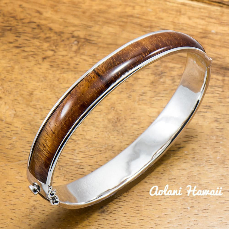 Sterling Silver Bracelet with Hawaiian Koa Wood Double Inlay (10mm width)