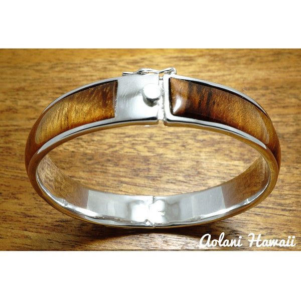 Sterling Silver Bracelet with Hawaiian Koa Wood Double Inlay (10mm width) - Aolani Hawaii - 2