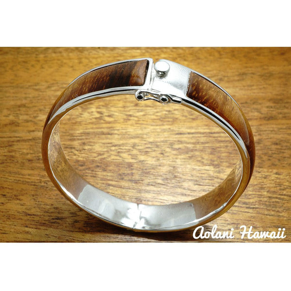 Sterling Silver Bracelet with Hawaiian Koa Wood Double Inlay (10mm width) - Aolani Hawaii - 3