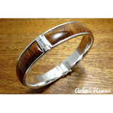 Sterling Silver Bracelet with Hawaiian Koa Wood Double Inlay (10mm width) - Aolani Hawaii - 4