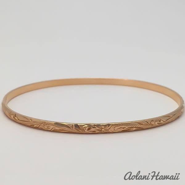 Traditional Hawaiian Hand Engraved 14k Gold Bracelet (3mm width) - Aolani Hawaii - 3