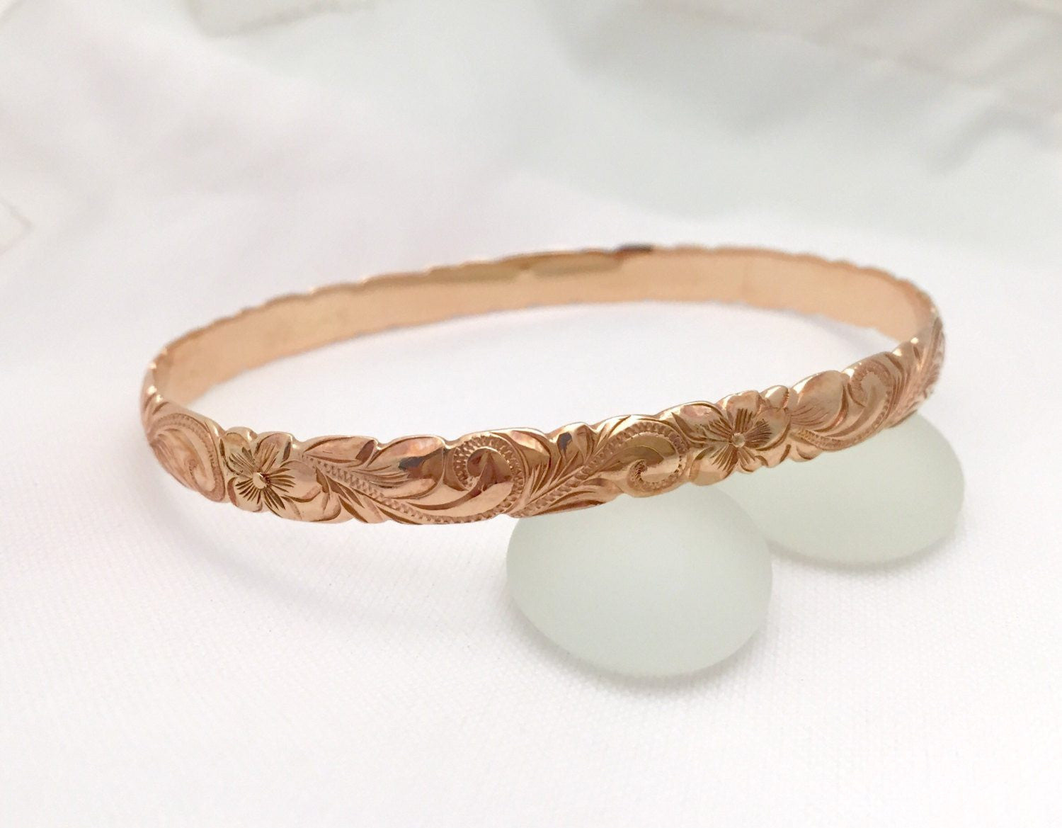 Traditional Hawaiian Hand Engraved 14k Gold Bracelet (6mm width, cutout design) - Aolani Hawaii - 1